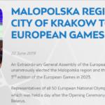 Miasto Kraków i Region Małopolski gospodarzem III Igrzysk Europejskich w 2023 roku